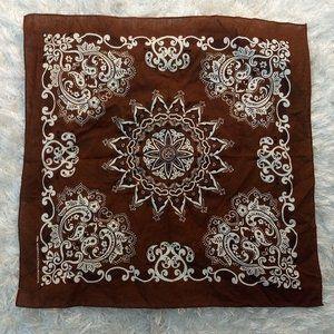 Vintage Brown Cotton Bandana Handkerchief